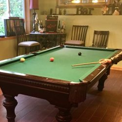 Top Condition Slate Pool Table, Light, and Accessories